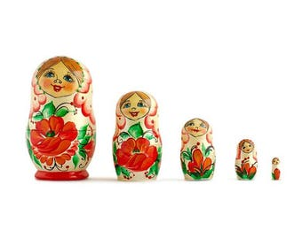 "3.5"" Set of 5 Red Poppy Flowers Dress Wooden Russian Nesting Dolls"
