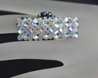 Swarovski crystal ring - crystal ab2x and silver base