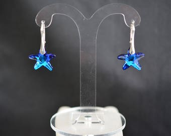 Silver 925 and Starfish Swarovski crystal bermuda blue earrings