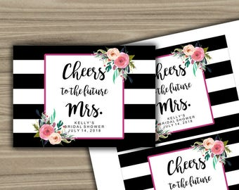 Personalized - Bridal Shower - Champagne Labels - PRINTABLE - DIY - Black and White - Floral - Bachelorette Party - L11