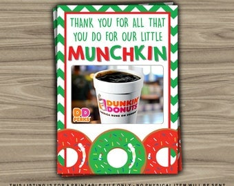 Gift Card Holder - INSTANT DOWNLOAD - Little Munchkin - Donut - Printable Thank You Teacher Appreciation Christmas Last Minute Gift - XG15