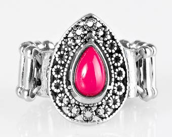Pink & Silver Ring - Paparazzi - stretchable band