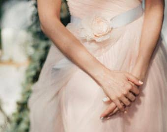 Bridal Belt, Gray belt, Bridesmaids belt- Wedding sash- skinny
