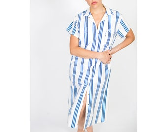 Striped Button Down Dress / 1980s Summer Dress