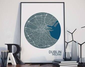 Dublin, Ireland City Map Print