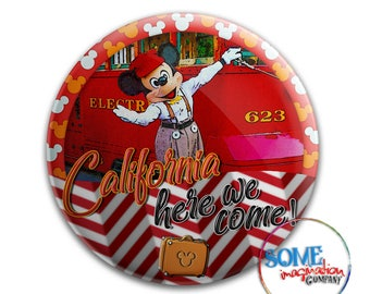 California Here We Come Mickey Mouse Button