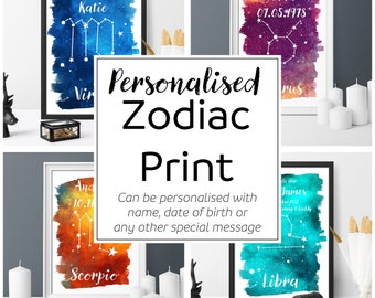 Printable, watercolour, Zodiac print, personalised, astrology wall art, home decor, personalised gift, digital download
