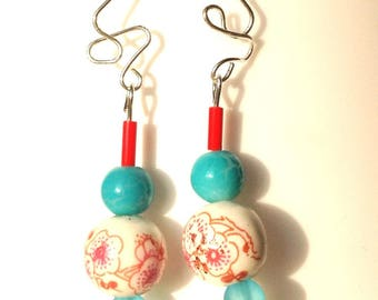 Earrings dangle turquoise, red zen beads Chinese porcelain