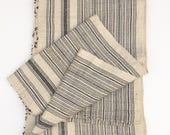 Black & natural stripes, Chinese Hemp/Linen Fabric, Hmong Hill Tribe, Extra Long!