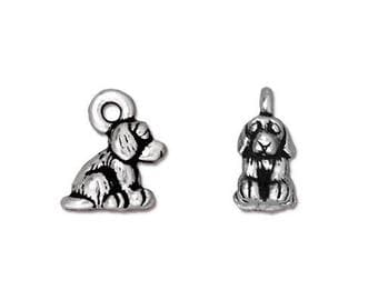 Tierracast Silver Dog Charm Jewelry Supplies Antique Silver Bead Finding Metal Pewter Small Sitting Puppy Pendant 4 pieces Made in USA