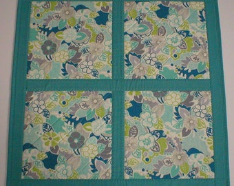 Handmade Quilted Table Topper, Teal with a Modern Floral Design, 24-3/4 Inches Square, Unique (#2147)