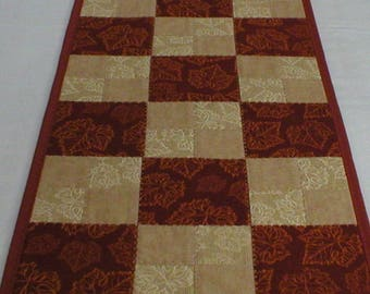 Handmade Quilted Table Runner, with Fall Leaves on Rust and Beige, About 12 x 48 Inches (Runner2153-over40)