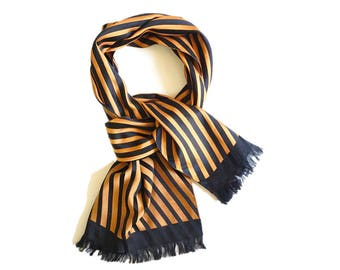 Men's PURE SILK tassels scarf.Vintage strips silk scarf.Gentlemen scarf in black yellow.Gift for dad & boyfriend.P74229