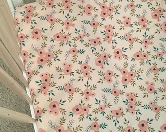 Rose Floral, baby girl floral, baby girl bedding, floral crib sheet, floral bedding, baby girl crib sheet, floral nursery, boho bedding
