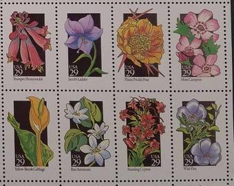 50 Different Wildflowers 29 Cent Vintage Postage Stamps, Unused # 2647-2696