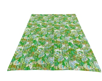 Paisley Design Indigo Handmade Kantha Throw Bedspread Reversible Vintage Quilt in Green Color