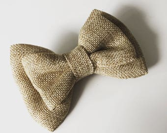 Jute hessian bow tie hair jojo bow hair accessory kids girl rustic hair bow clip