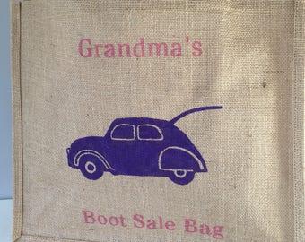 Grandma's Car Boot Sale Bag hand painted jute shopping bag- large. Burlap car bag, hessian tote bag, bag for life. Funny gift. Gift for Nan
