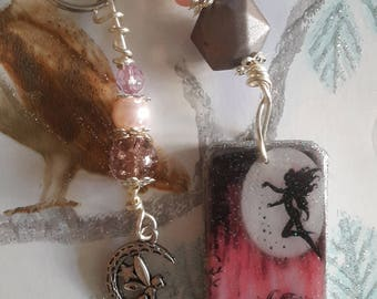 Altered Domino Fairy Keyring with Fairy Charm and matching coloured beads