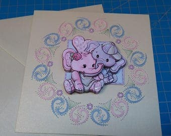 Embroidered greeting card and 3D 746