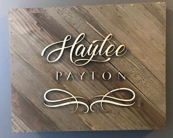 Personalized Laser Engraved Childrens Name Sign