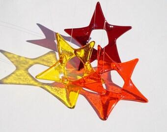 Set of 3 fused glass star suncatchers, warm colors collection of 3 glass stars, fused glass suncatchers, fused glass art