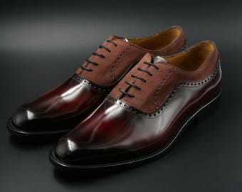 Leather men patina shoes, red wood effect and marsala suede, Oxford, hand painted, made in Italy