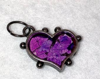 "1"" Eggshell Mosaic Dark Silver beaded heart bezel (#201)"