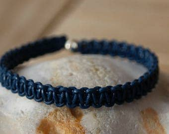 blue leather braided bracelet