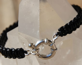 clasp buoy braided black leather bracelet