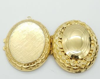 Vintage Gold Tone Double Locket Pendant