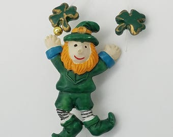 Old Stock Resin Dancing Leprechaun With Shamrocks Lapel Pin / Brooch - St. Patrick's Day Jewelry