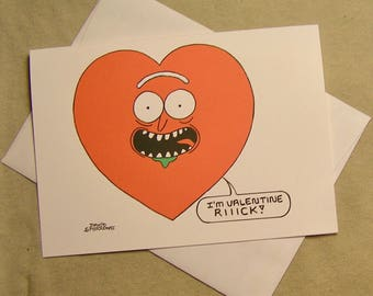 Rick and Morty Valentine Card. Valentine Rick. Regular size card and mini-version, A Lunar Eclipse cartoon Valentine card.