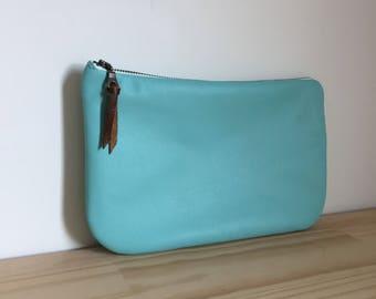 leather clutch. Summer bag. Blue clutch purse.