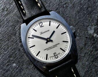 Vintage Men's Watch, Watch for Him, Vintage Watch, Lucerne Watch, Mechanical Watch, Vintage Black Watch, Watch Gift for Him, Husband Gift