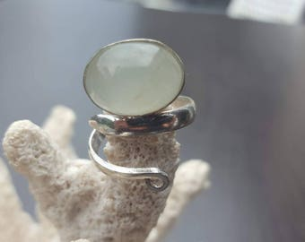 oval green Prehnite Semi Precious Stone sterling silver ring