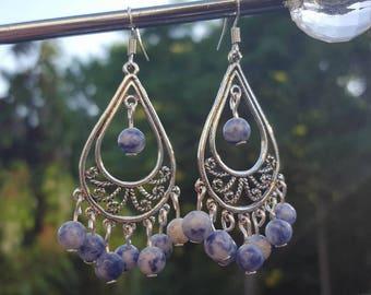 Ethnic Earrings, Chandelier Earrings, Tribal Earrings, Pendientes, Boho Style Earrings, Lapis Lazului Earrings