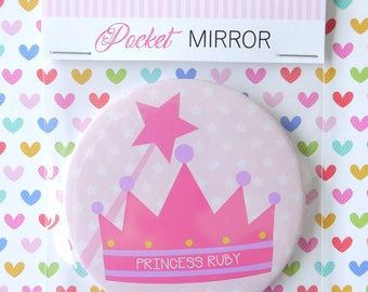 Beautiful Personalised Girls Princess Pocket Mirror, Gift, Stocking Filler