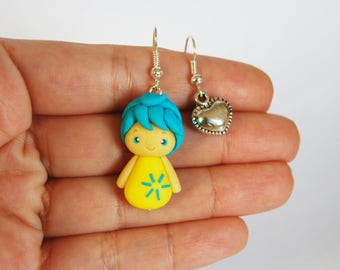 OUTLET! Sale! Polymer clay earrings Joy and heart