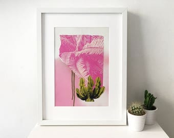 Handmade Abstract Collage, Contemporary Art for the Home 'Cacti'