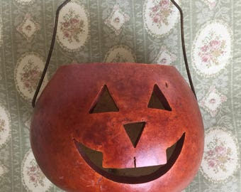 Vintage Gourd Jack 'O Lantern With Handle