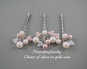 Wedding hair clips bridal white pink hair pins  Bridesmaid hair accessories flower girl hair do brown silver  bobby clips Bridal hair clips