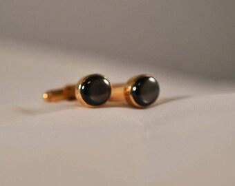 Vintage Brown Cufflinks, Gold Tone, Men's Jewelry, Gold Cufflinks, Vintage Cufflinks, Men's Cuff Links, Gold Cuff Links, GS1034