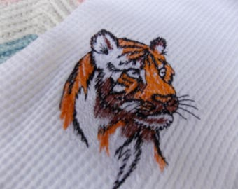 NEWBORN BABY RECEIVING Swaddling Blanket Embroidered Bengal Tiger