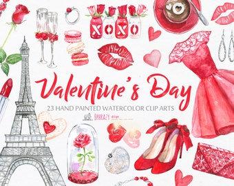 Valentine's day clipart. Watercolor clipart. Watercolor valentine day. Watercolor valentine clipart. Love clipart. Hearts watercolor clipart
