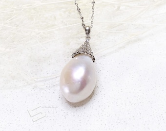 Large Baroque Pearl In Sterling Silver Necklace, 20MM Big Pearl & Silver Setting Necklace, Freshwater Pearl  Pendant Necklace