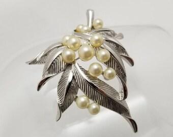 TRIFARI Silver Tone Pearl Pin