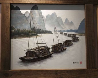 Fishing Boats on The Yangtze River, Acrylic Painting, Canvas Art