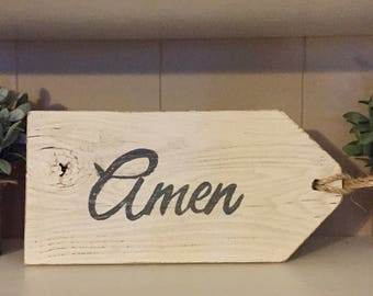 "Rustic hand painted wood ""AMEN"" sign"
