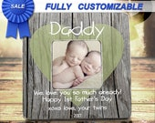 First Father's Day Dad Of Twins First Time Dad Daddy Of Twins Gift For New Dad From Mom Twins Frames Twins Picture Frame Ultrasound Twins